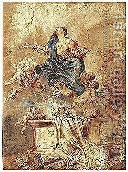 The Assumption by Giovanni Benedetto Castiglione - Reproduction Oil Painting