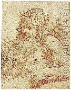 A Study For A Figure Of Neptune, Half-length, Seated by Giovanni Francesco Guercino (BARBIERI) - Reproduction Oil Painting