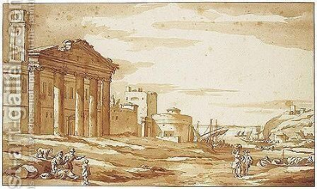 Capriccio With Peasants By Roman Ruins And Other Buildings, A Mediterranean Harbour Behind by Jacob Van Der Ulft - Reproduction Oil Painting