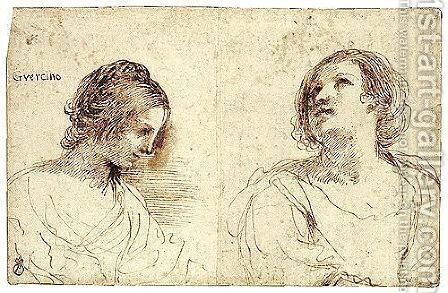 Two Female Head Studies by Giovanni Francesco Guercino (BARBIERI) - Reproduction Oil Painting