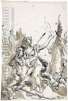 Angelica And Medoro 2 by Giovanni Domenico Tiepolo - Reproduction Oil Painting