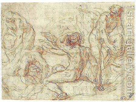 Studies Of Male Nudes For A Bathing Scene by Simone Cantarini (Pesarese) - Reproduction Oil Painting
