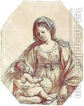 The Madonna And Child 2 by Giovanni Francesco Guercino (BARBIERI) - Reproduction Oil Painting