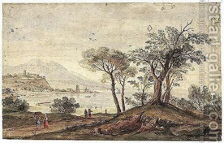 Landscape With Trees And Figures Near A Coastline, The Buildings Of A Small City And A Port In The Background by Caspar Andriaans Van Wittel - Reproduction Oil Painting