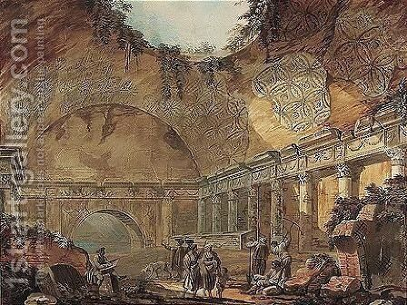 Figures In A Ruined Temple by Charles-Louis Clerisseau - Reproduction Oil Painting