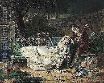 A Young Man Serenading A Woman Who Reclines Asleep Upon A Bench by Dutailly - Reproduction Oil Painting