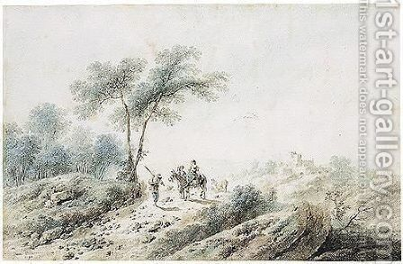 Peasants On A Road In A Landscape by Jean-Baptiste Pillement - Reproduction Oil Painting