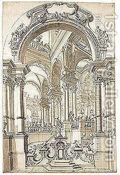 An Elaborate Portico Seen Through An Arch by (after) Giuseppe Galli Bibiena - Reproduction Oil Painting