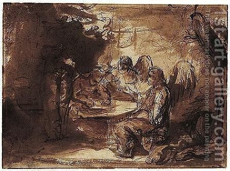 Abraham Entertaining The Three Angels by Barent Fabritius - Reproduction Oil Painting