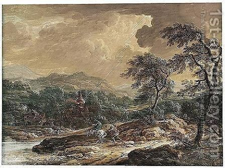 Landscape With A Church Struck By Lightning by Johann Christoph Dietzsch - Reproduction Oil Painting
