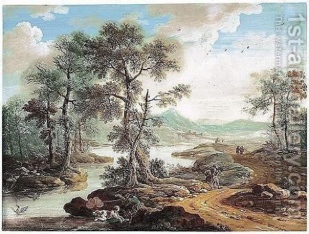 Italianate River Landscape With A Duck Hunter by Johann Christoph Dietzsch - Reproduction Oil Painting