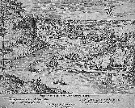 River landscape with the rape of psyche by mercury by (after) Pieter The Elder Breughel - Reproduction Oil Painting