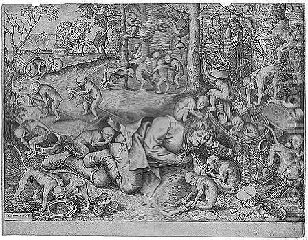 The sleeping peddler surrounded by monkeys, who are playing with his goods by (after) Pieter The Elder Breughel - Reproduction Oil Painting