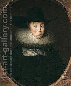 Portrait Of Lady Robinson by (after) Johnson, Cornelius I - Reproduction Oil Painting