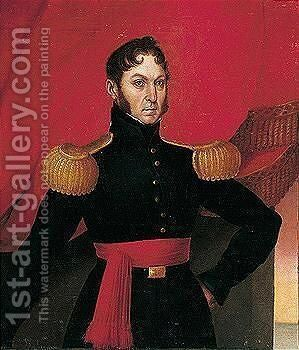Three-quarter Length, Standing, Wearing Uniform With Gold Epaulettes And Red Cumberbund by Spanish School - Reproduction Oil Painting