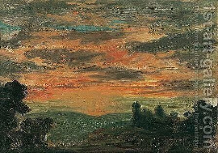A View Of A Sunset by (after) John Linnell - Reproduction Oil Painting