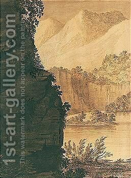A Mountain Lake Scene by Alexander Cozens - Reproduction Oil Painting