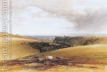 A Distant View Of Arundel Castle, Sussex by Anthony Vandyke Copley Fielding - Reproduction Oil Painting