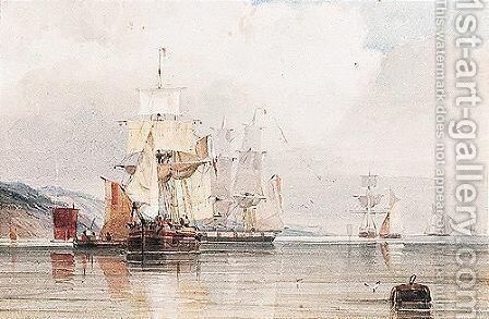 French Shipping Off The Coast In Calm Waters by Count Alexandre Thomas Francia - Reproduction Oil Painting
