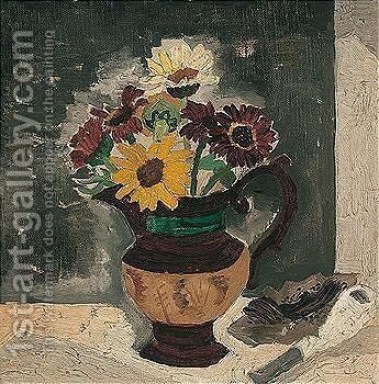 Daisies In A Lustre Jug by Christopher Wood - Reproduction Oil Painting