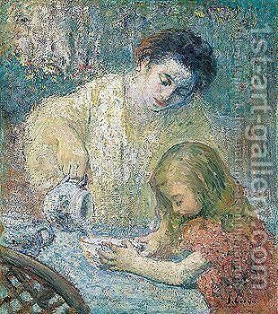 Mother and child by Henri Lebasque - Reproduction Oil Painting