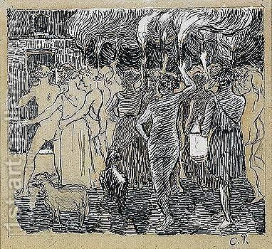 Daphnis et chloe by Camille Pissarro - Reproduction Oil Painting