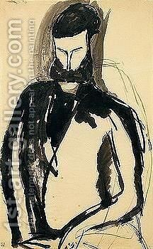 Portrait of a man 2 by Amedeo Modigliani - Reproduction Oil Painting