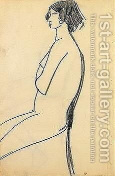 Woman sitting by Amedeo Modigliani - Reproduction Oil Painting