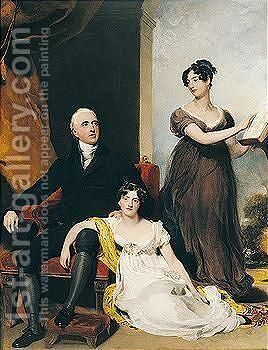 Portrait Of Charles Binny (D.1822) With His Daughters by Sir Thomas Lawrence - Reproduction Oil Painting