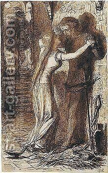 Faust And Margaret In Prison by Dante Gabriel Rossetti - Reproduction Oil Painting