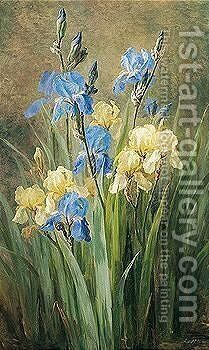 Opstilling Med Iris (Still Life With Irises) by Anthonore Eleanore Christensen - Reproduction Oil Painting