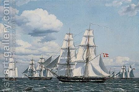Adskillige Kobmandsskibe Som Krydser Med Alle Sejl, Fortil En Dansk Orlogsbrig (Merchant Ships Crossing In Full Sail, A Danish Vessel In Front) by Christoffer Wilhelm Eckersberg - Reproduction Oil Painting
