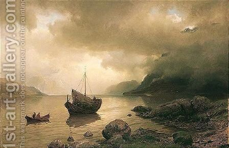 Bater Af Sognefjord (Boats On The Sognefjord) by Hans Fredrik Gude - Reproduction Oil Painting