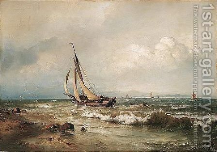 Skibe Pa Havet (Shipping In The Breakers) by Carl Frederik Sorensen - Reproduction Oil Painting