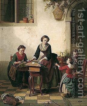 The Lace Makers by Basile De Loose - Reproduction Oil Painting