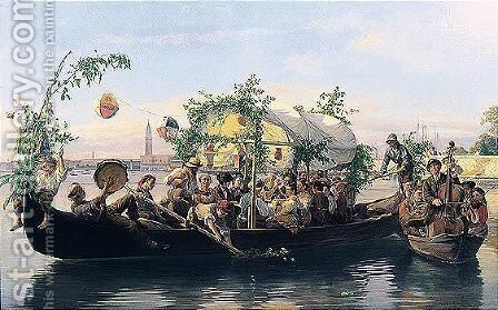 Una Festa Veneziana (A Venetian Water Fete) by Antonio Rotta - Reproduction Oil Painting