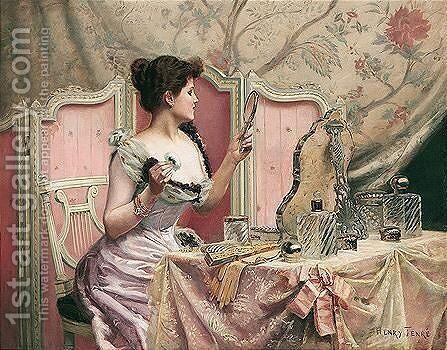 Femme Au Toilette by Charles Henry Tenre - Reproduction Oil Painting