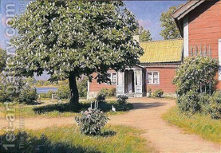 The House By The Lake by Johan Fredrik Krouthen - Reproduction Oil Painting