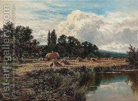 Harvesting On The Banks Of The Thames, Near Marlow by Henry Hillier Parker - Reproduction Oil Painting