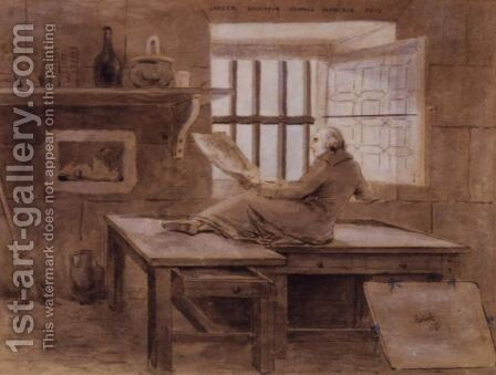 Hubert Robert In His Cell In The Prison Of St. Lazare by Hubert Robert - Reproduction Oil Painting