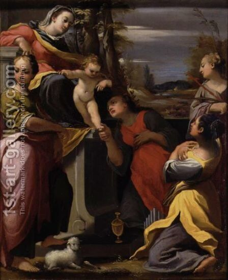 The Madonna And Child Enthroned With Saints Agnes, Mary Magdalene, Cecilia And Margaret by Carlo Bononi - Reproduction Oil Painting