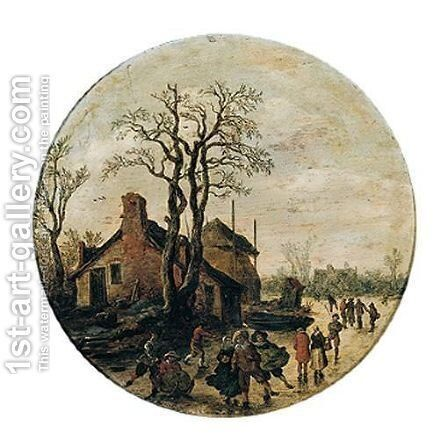 A winter landscape with figures skating and sledging on the ice outside village by Jan van Goyen - Reproduction Oil Painting