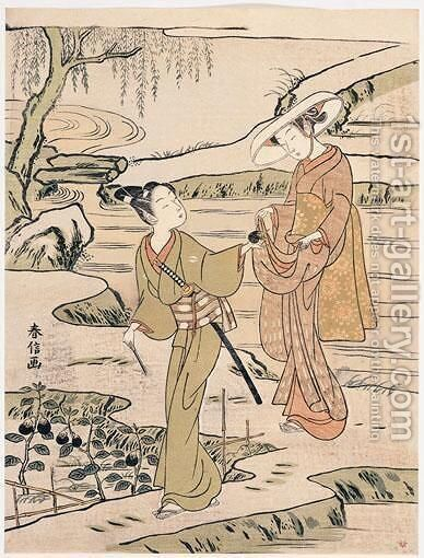 L'Aubergine by Suzuki Harunobu - Reproduction Oil Painting