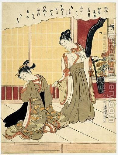 Le Mois Des Chrysanthemes by Suzuki Harunobu - Reproduction Oil Painting