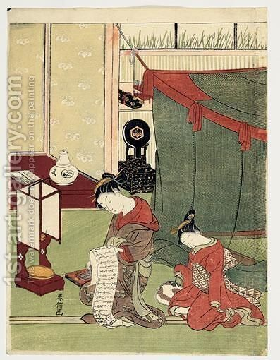 La Kamuro Assoupie by Suzuki Harunobu - Reproduction Oil Painting