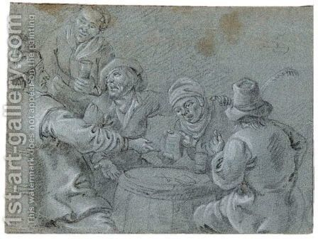 Tavern Scene by Dutch School - Reproduction Oil Painting