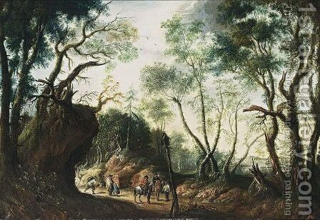 A Wooded Landscape With Horsemen And Travellers On A Path by Jan Wildens - Reproduction Oil Painting