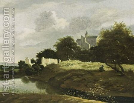 A Wooded Landscape With A Small River In The Foreground And Ruins Nearby, A View Of A Castle Beyond by Jan van Kessel - Reproduction Oil Painting