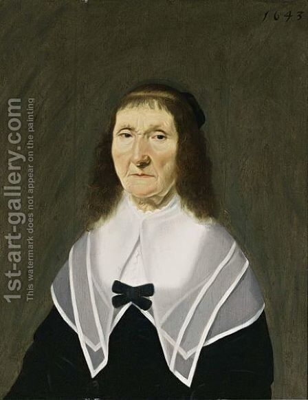 A Portrait Of An Elderly Lady, Bust Length, Wearing A Black Dress With A White Lace Collar by Dutch School - Reproduction Oil Painting