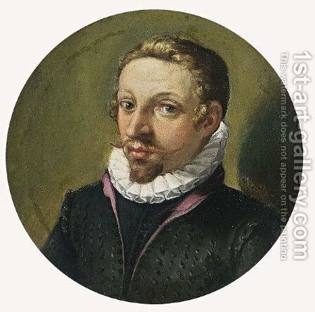 A Portrait Of A Gentleman, Bust Length, Wearing A Red-Lined Black Costume With White Lace Collar by (after) Jacob De II Gheyn - Reproduction Oil Painting